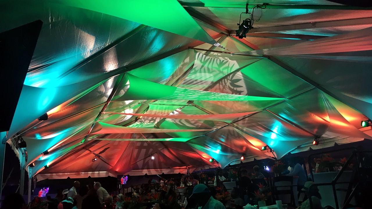 Sound Media Production Jazz in Gardens festival Tent Gobo Lighting